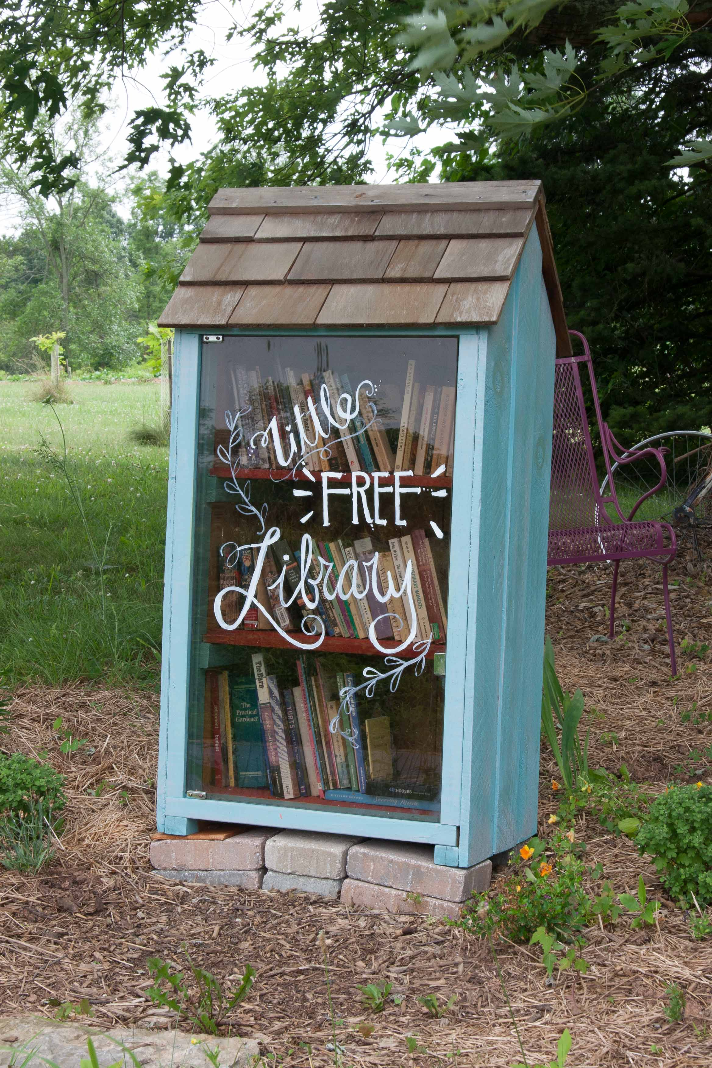 Little Free Library on side of Utica Road