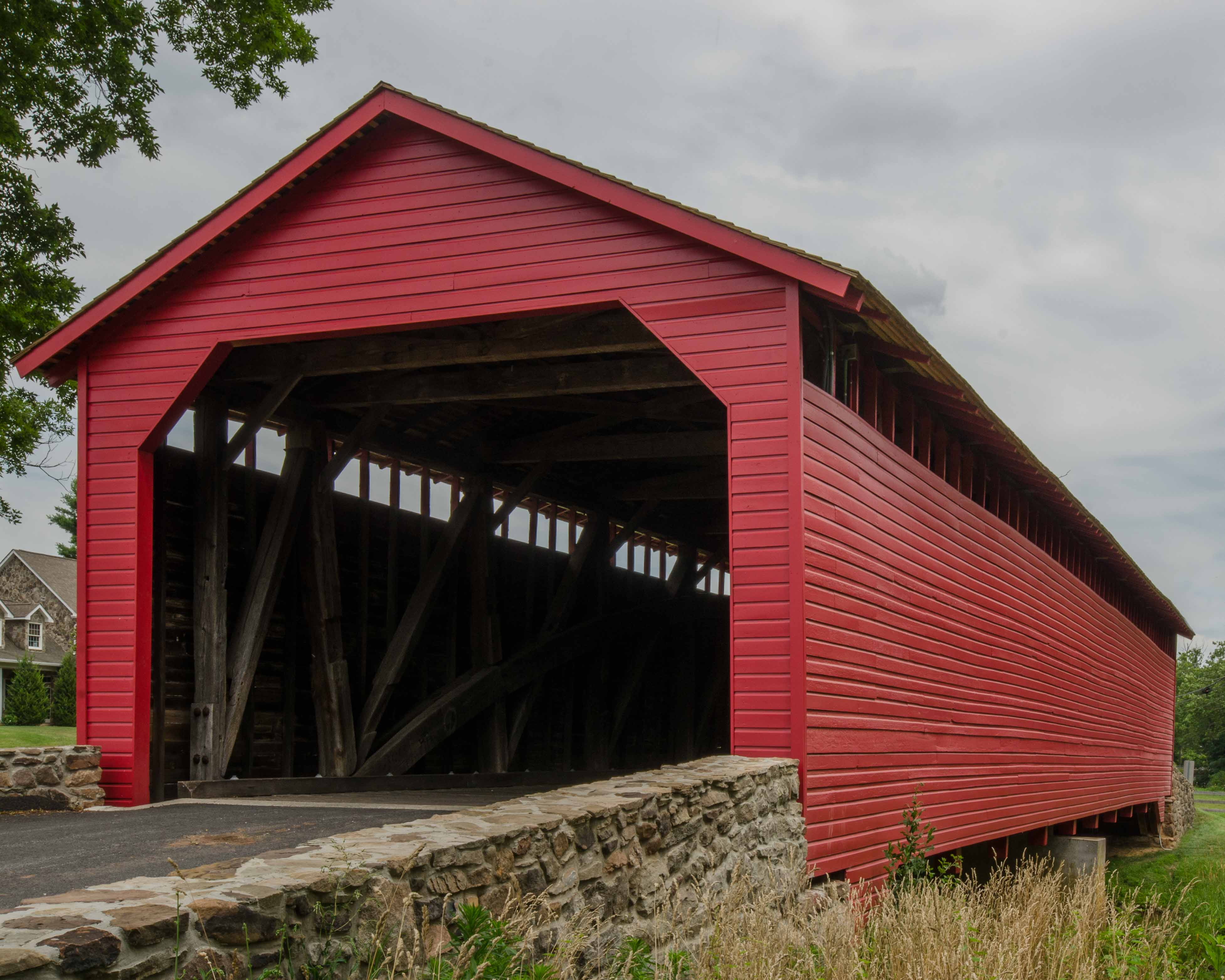 Utica Road Covered Bridge, painted red