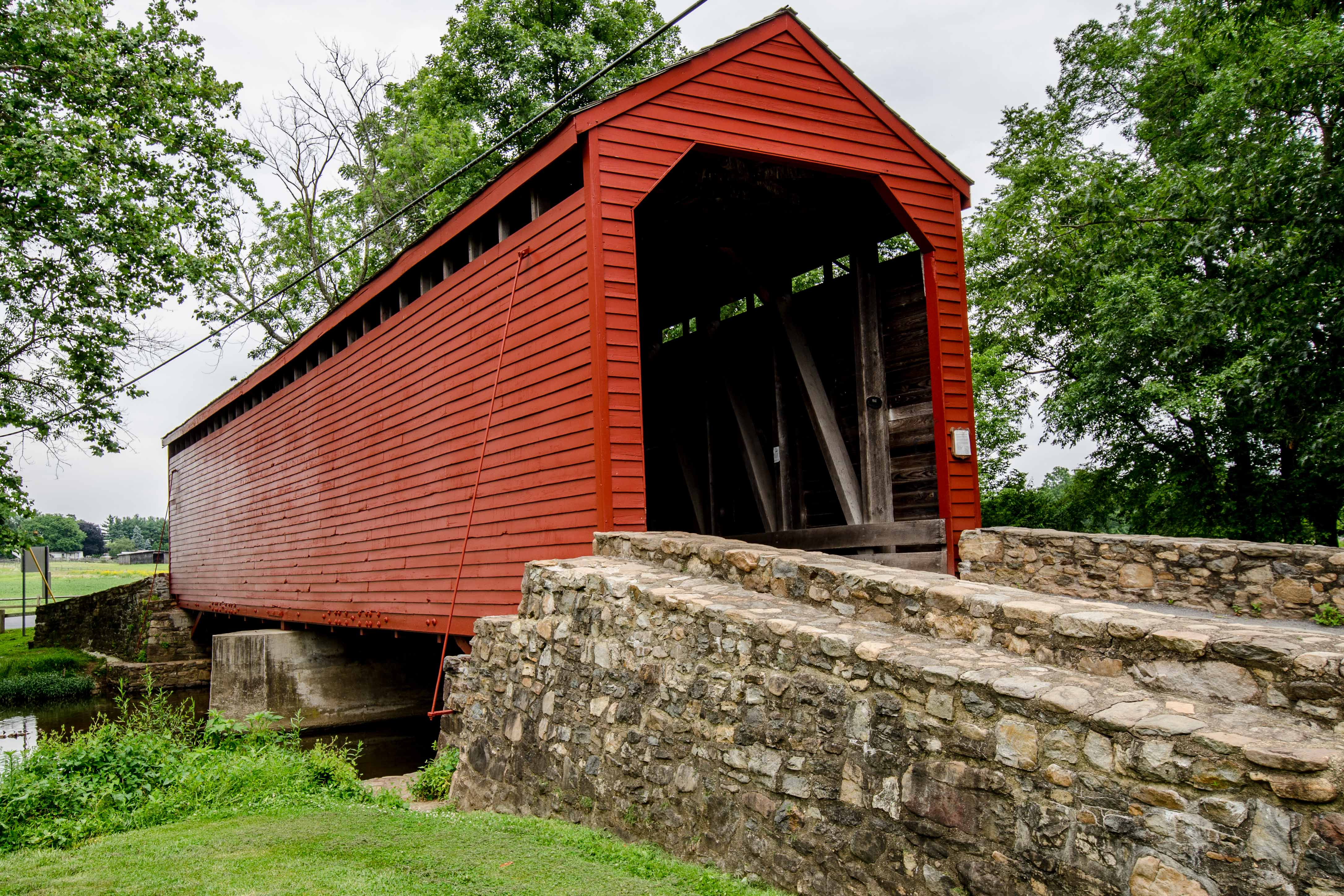 Loys Station Covered Bridge, painted red