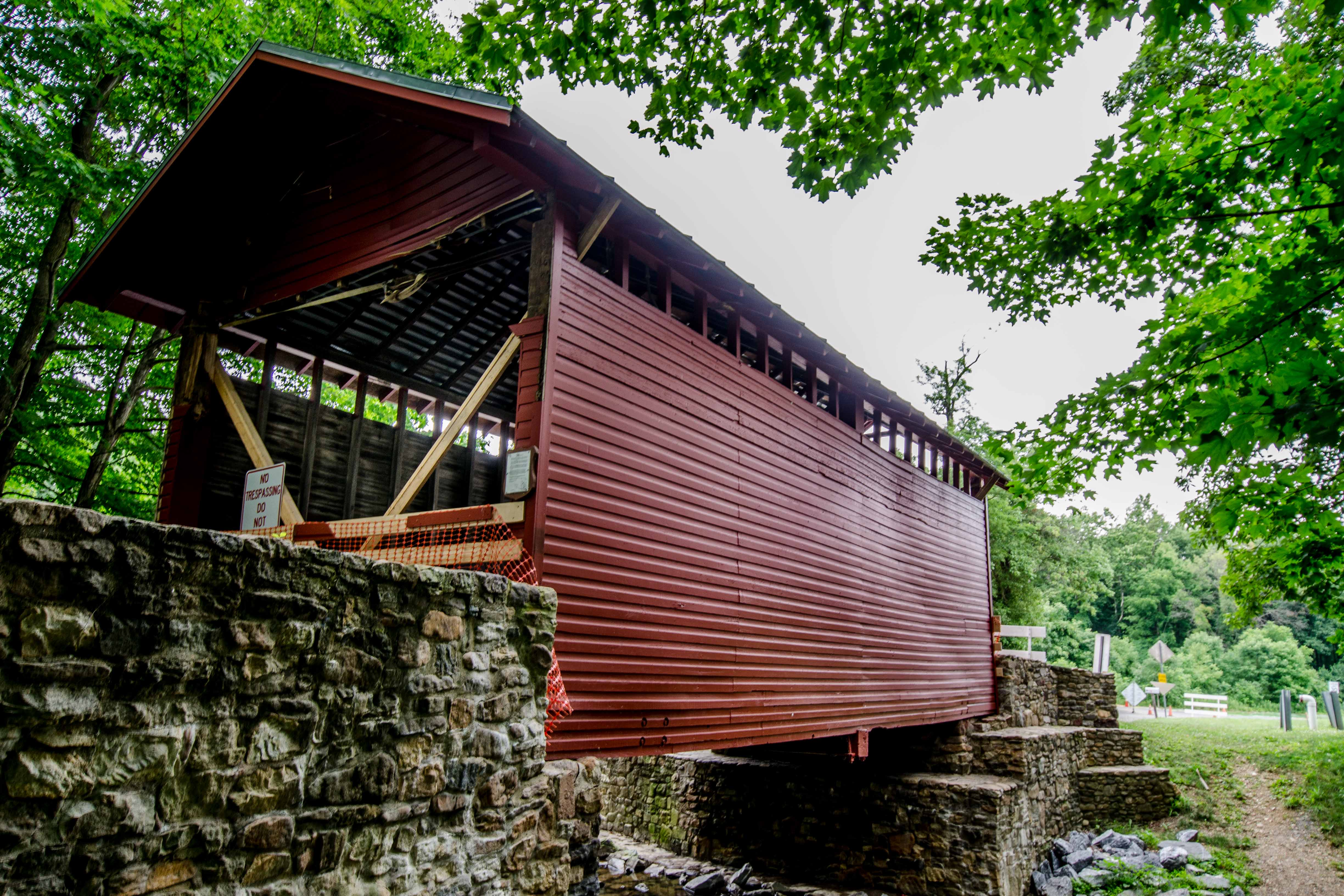 Roddy Road Covered Bridge, painted red, closed due to damage