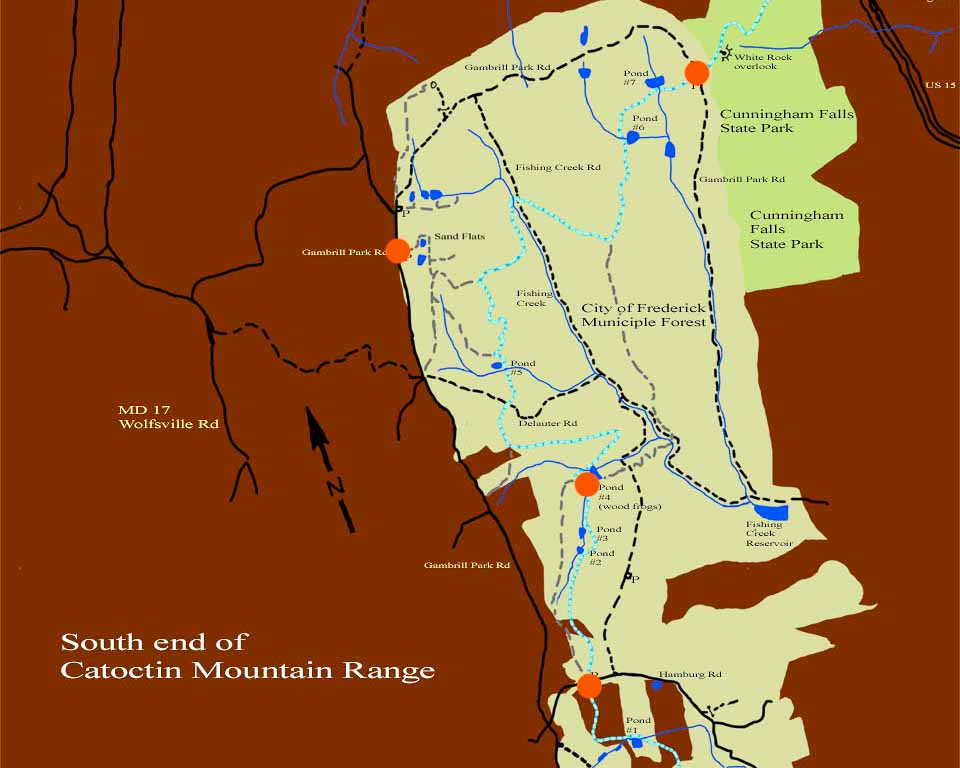 Map of Frederick Municipal Forest with red dots indicating points to be visited