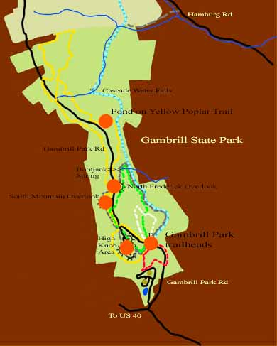 Map of Gambrill State Park with red dots indicating points to be visited