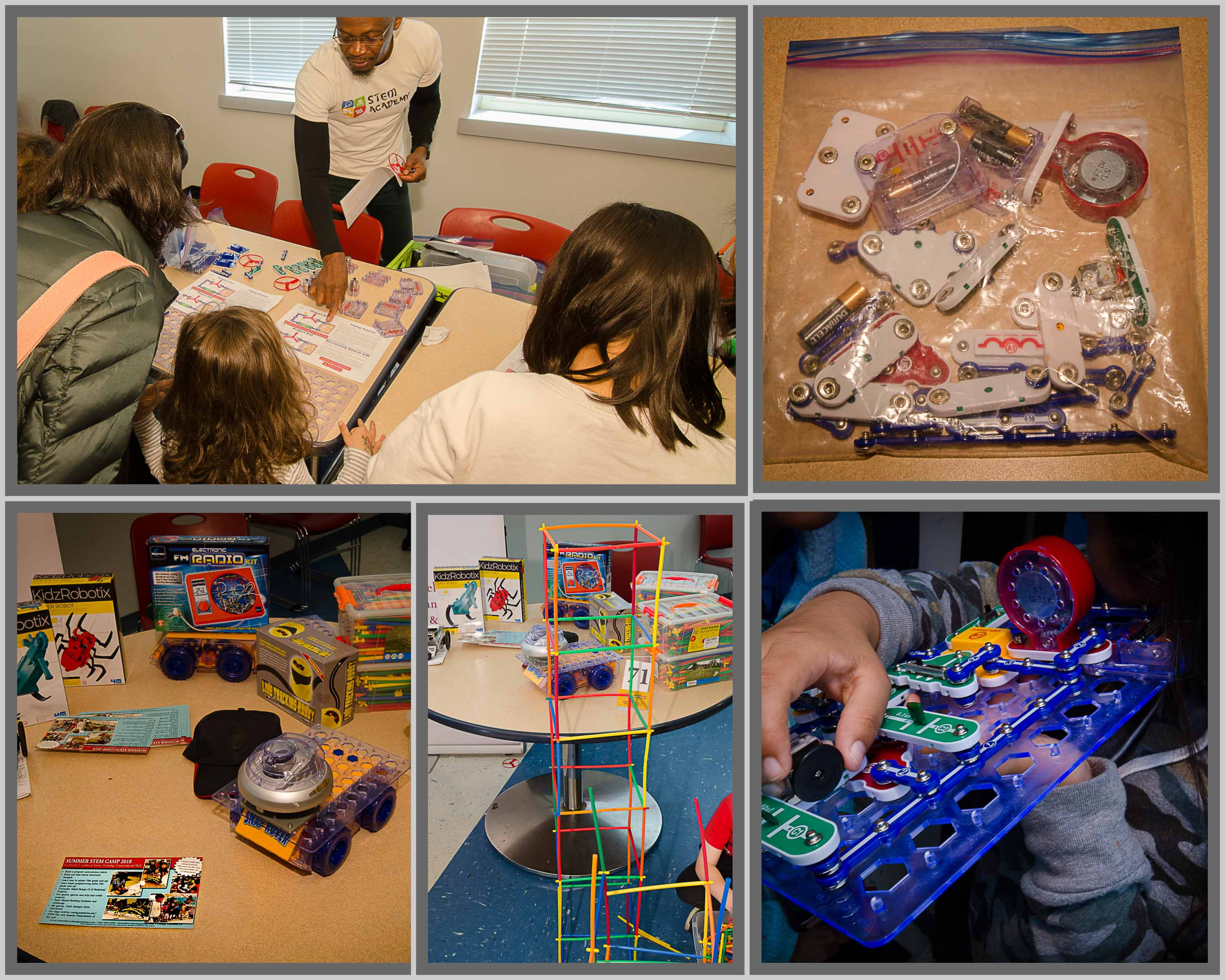 Collage of pictures of kids enjoying building things and table of STEM kits