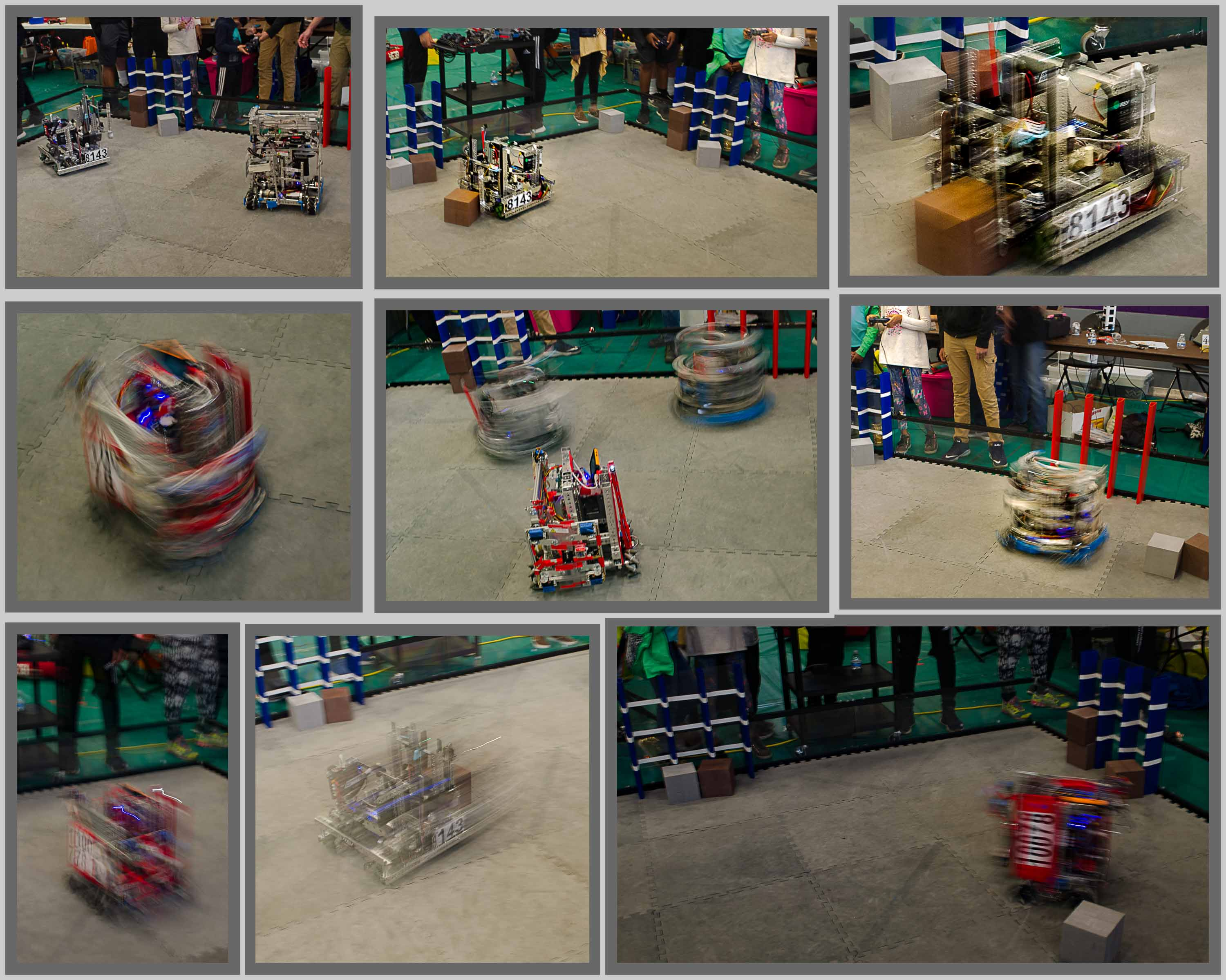 Collage of pictures of demonstrations of remote-controlled robots.