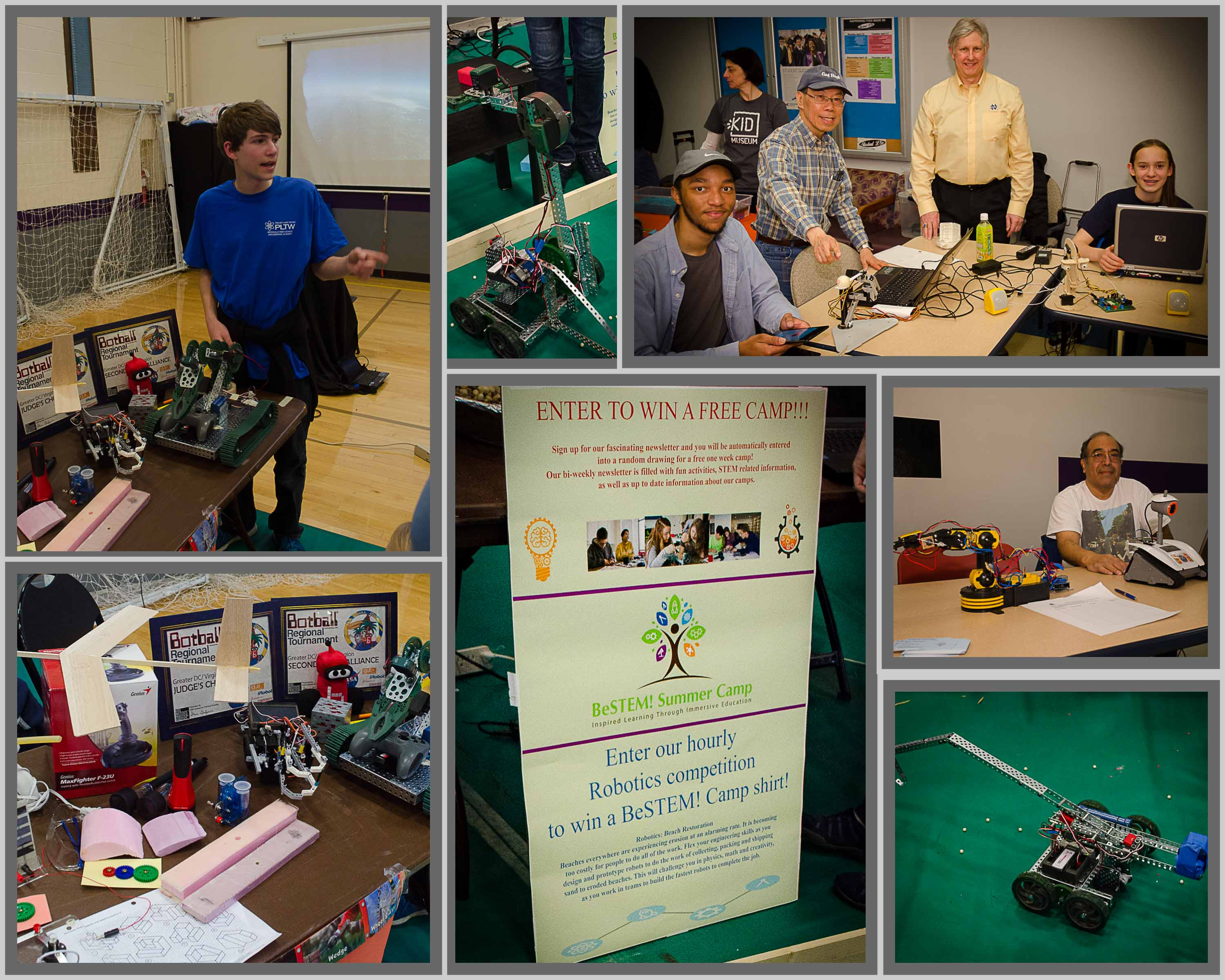 Collage of pictures of promoting and teaching robotics.