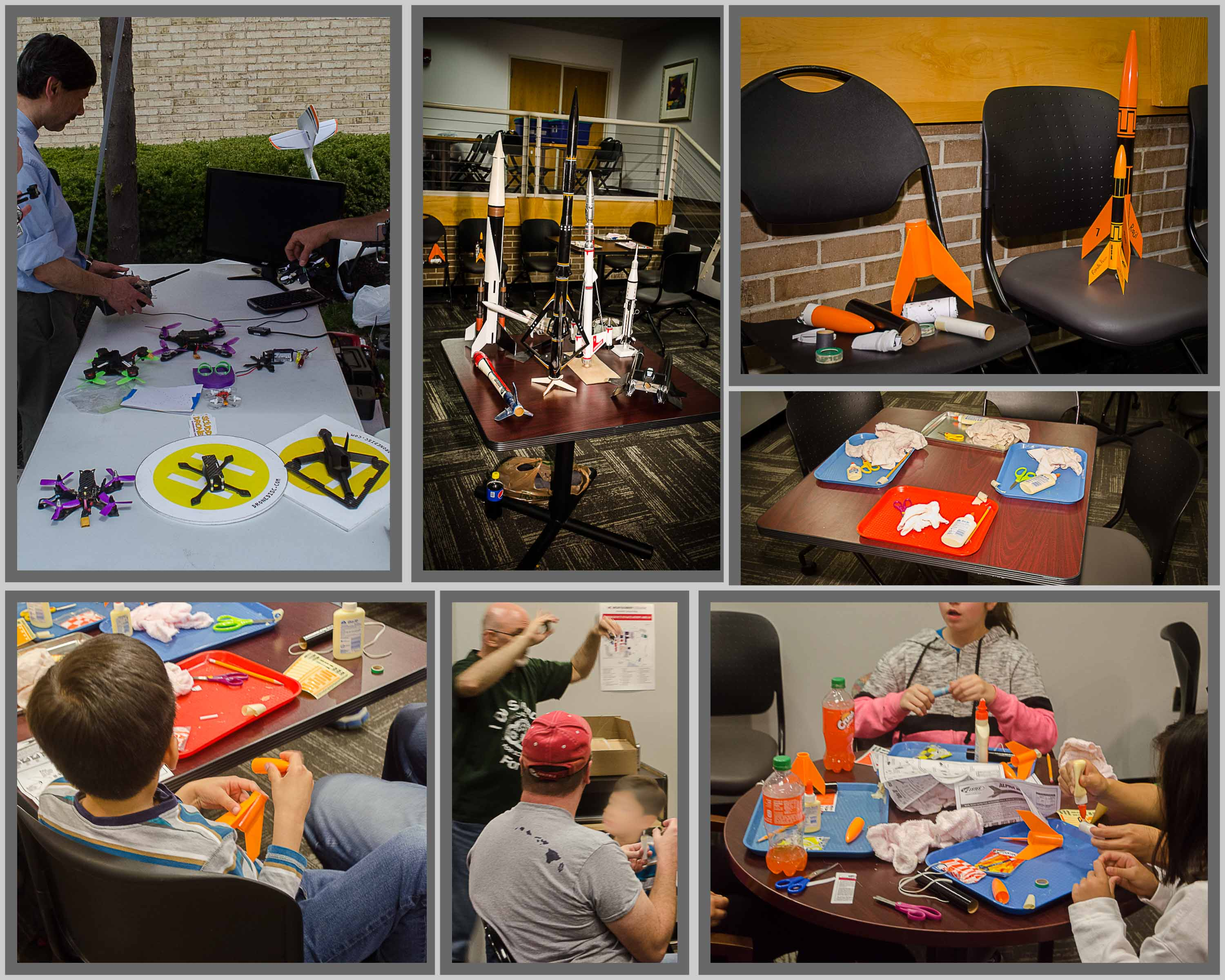 Collage of pictures of STEM of rocketry and flying drones.