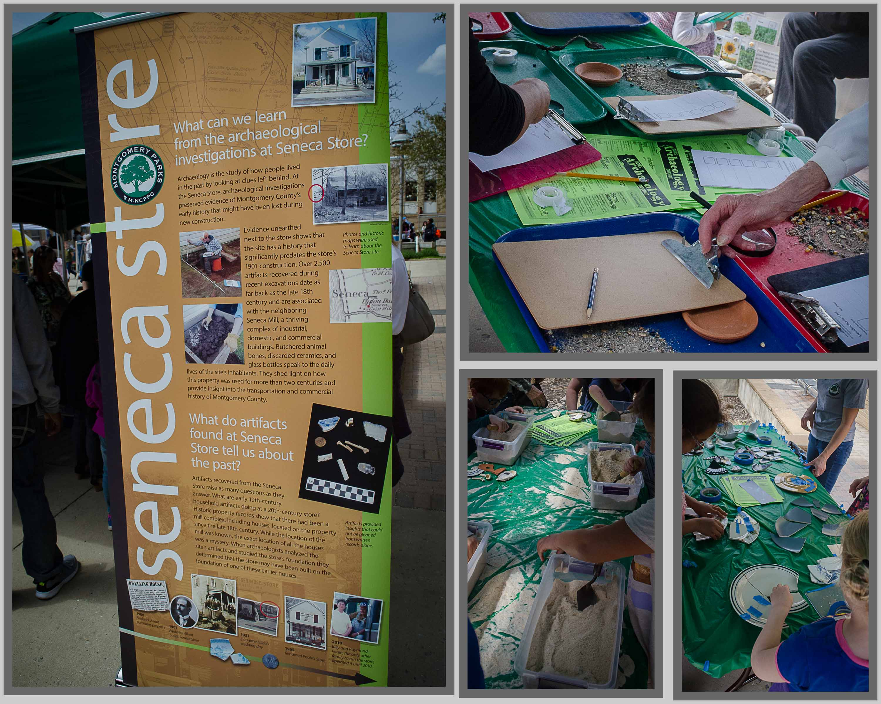 Collage of pictures of archeology learning booths provided by Montgomery County Parks.