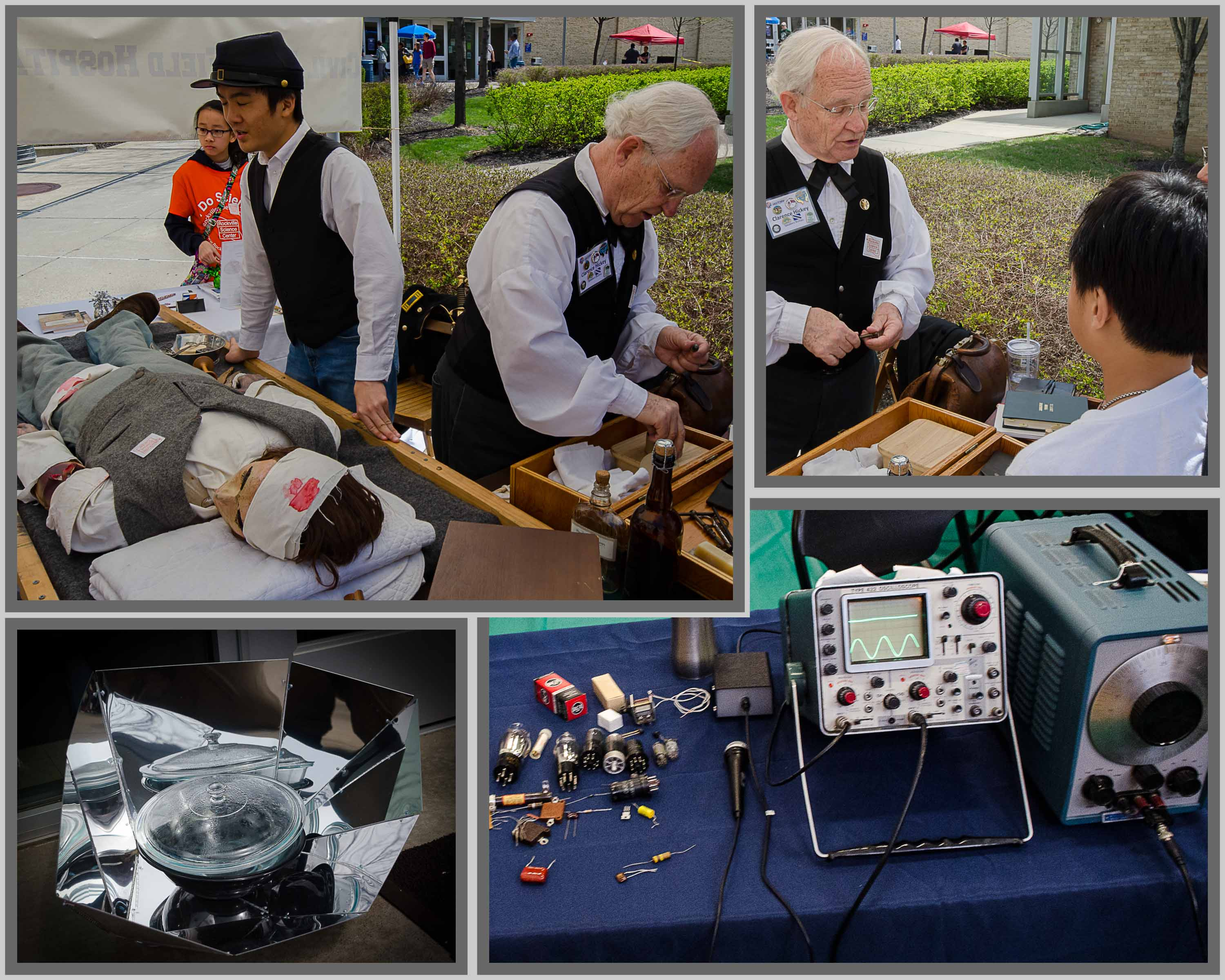 Collage of pictures of showing Civil War era medicine, a solor oven, and an old-timers electronics display.