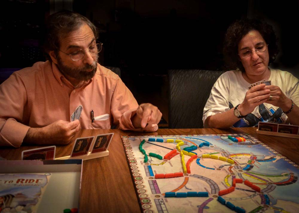 Howard and Susan playing Ticket to Ride game