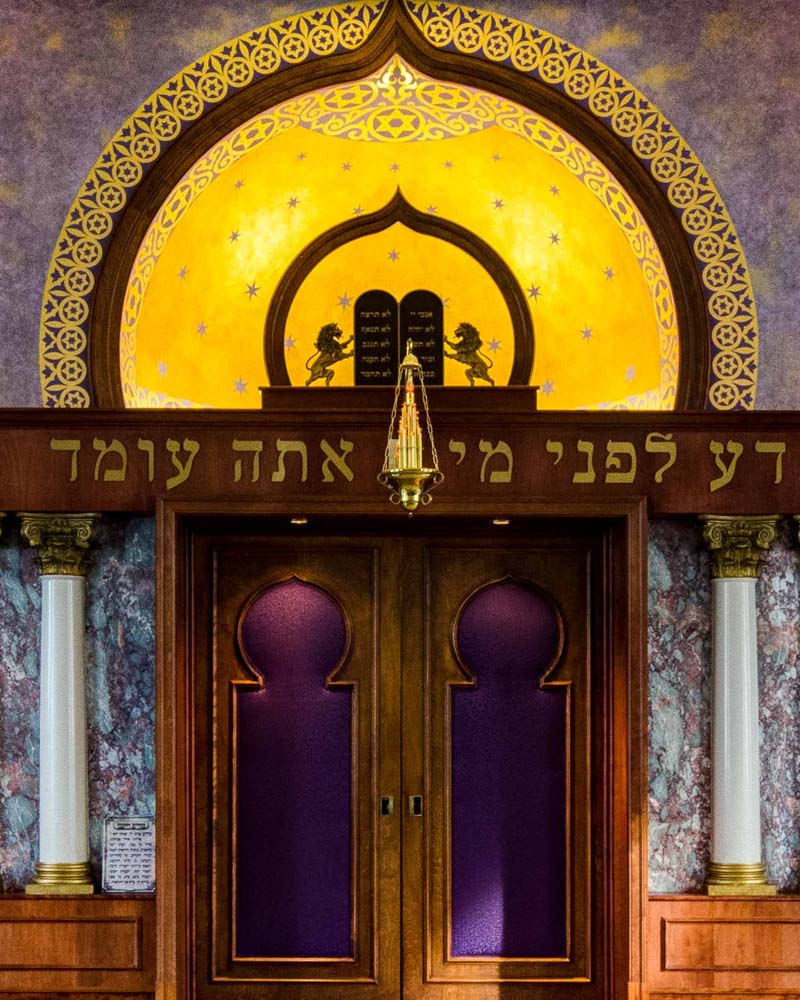Closeup of the Aron Kodesh (Holy Ark)